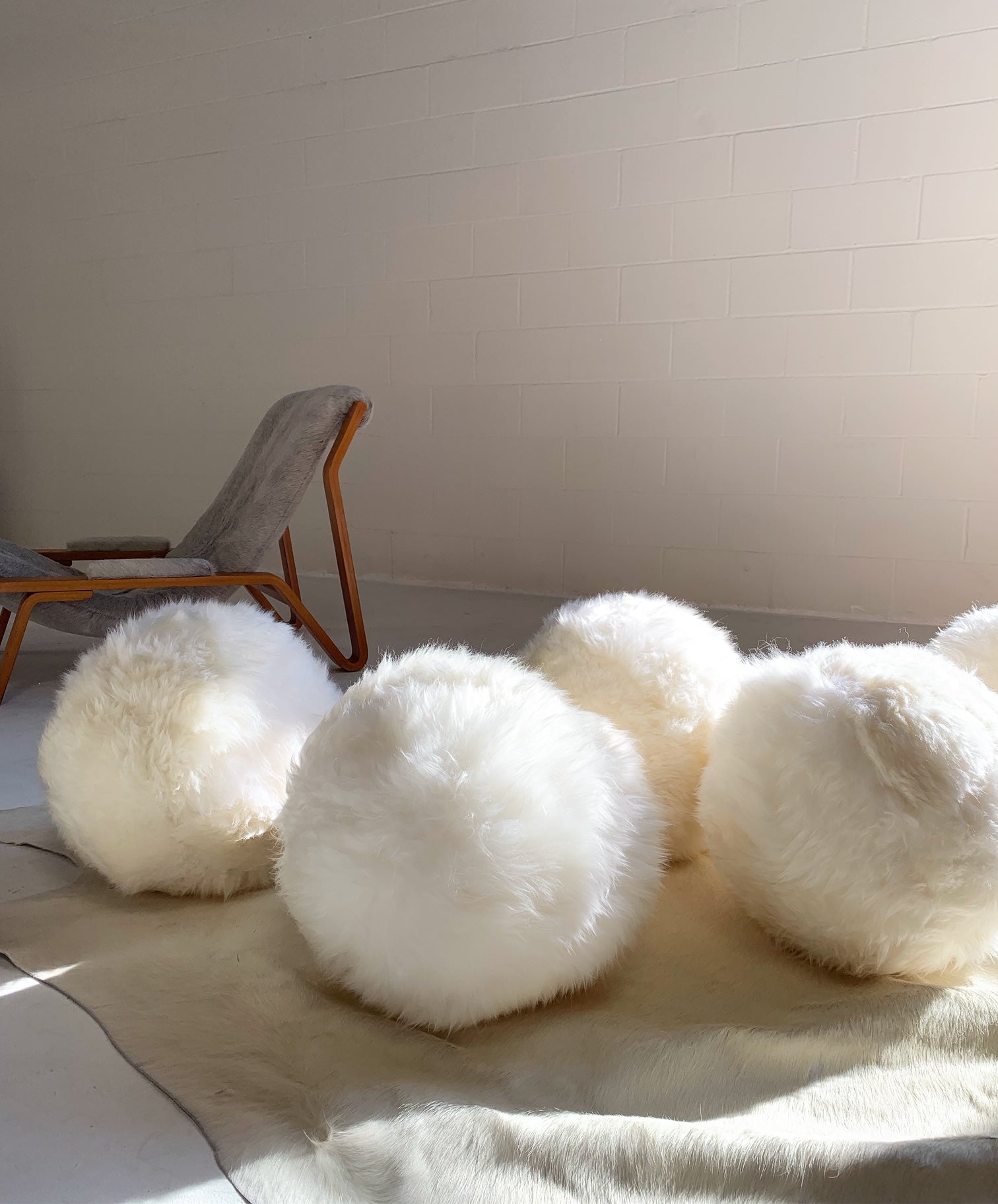 Brazilian Sheepskin Ball Pillow - FORSYTH