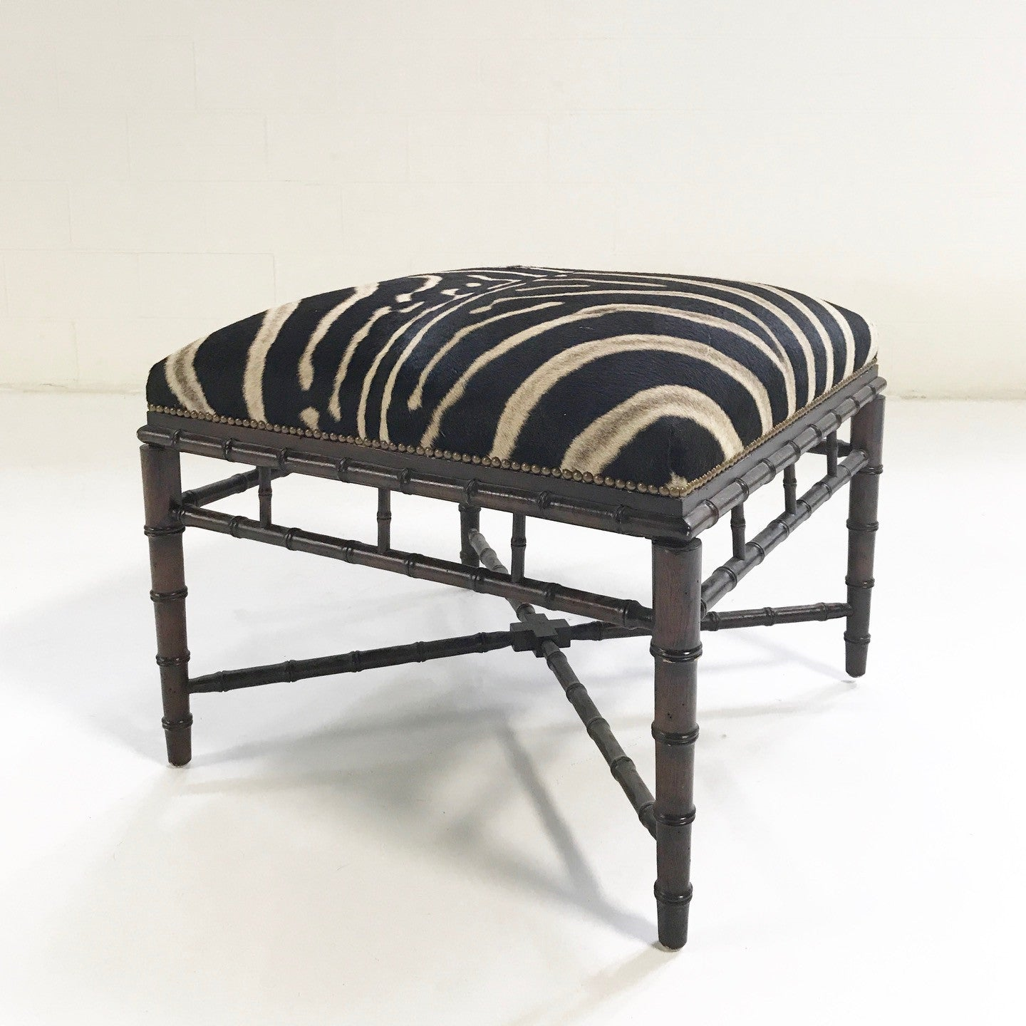 Vintage Chinoiserie Style Ottoman Restored in Zebra Hide - FORSYTH