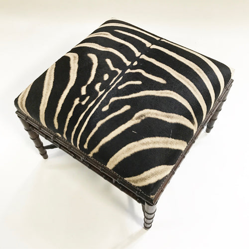 Chinoiserie Style Ottoman in Zebra Hide - FORSYTH