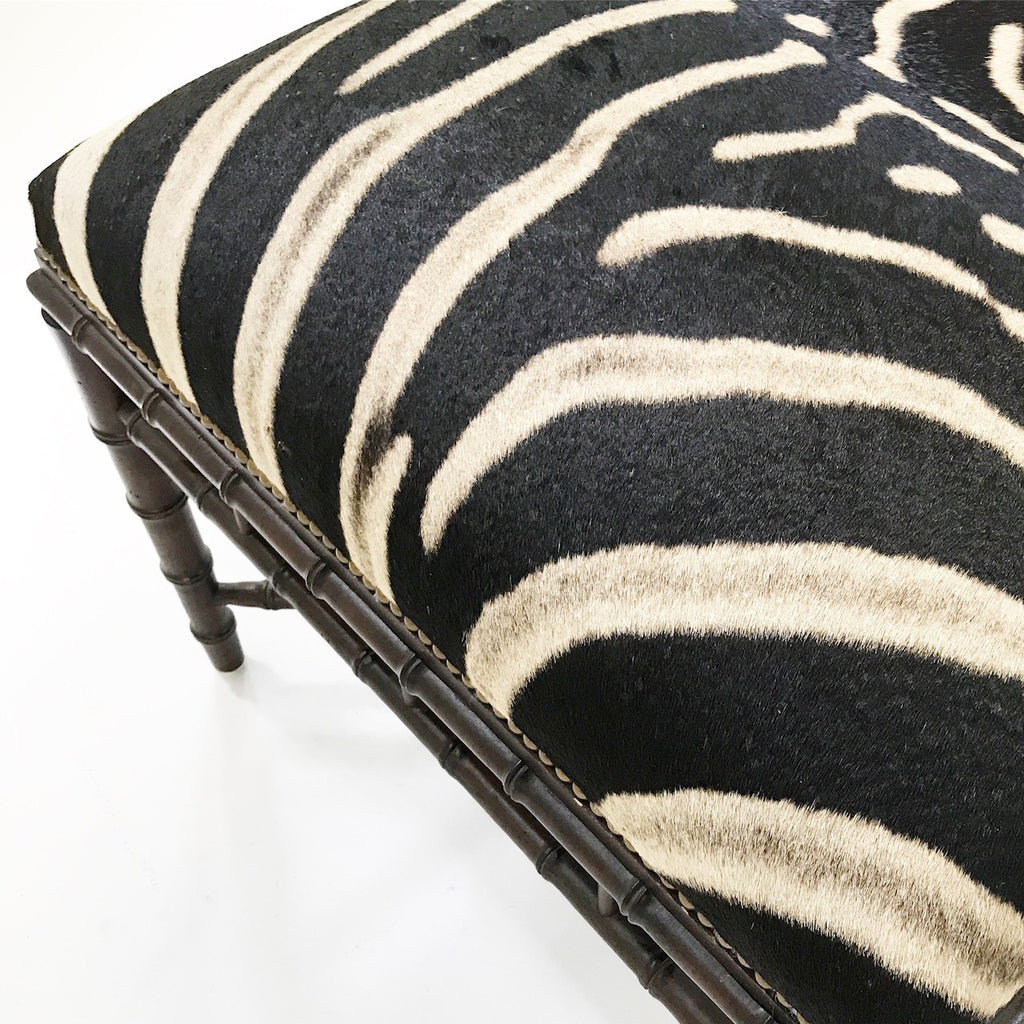 Vintage Chinoiserie Style Ottoman Restored in Zebra Hide