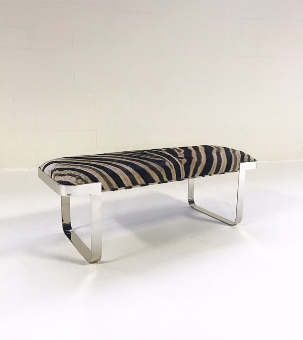 Chrome Bench in Zebra Hide - FORSYTH
