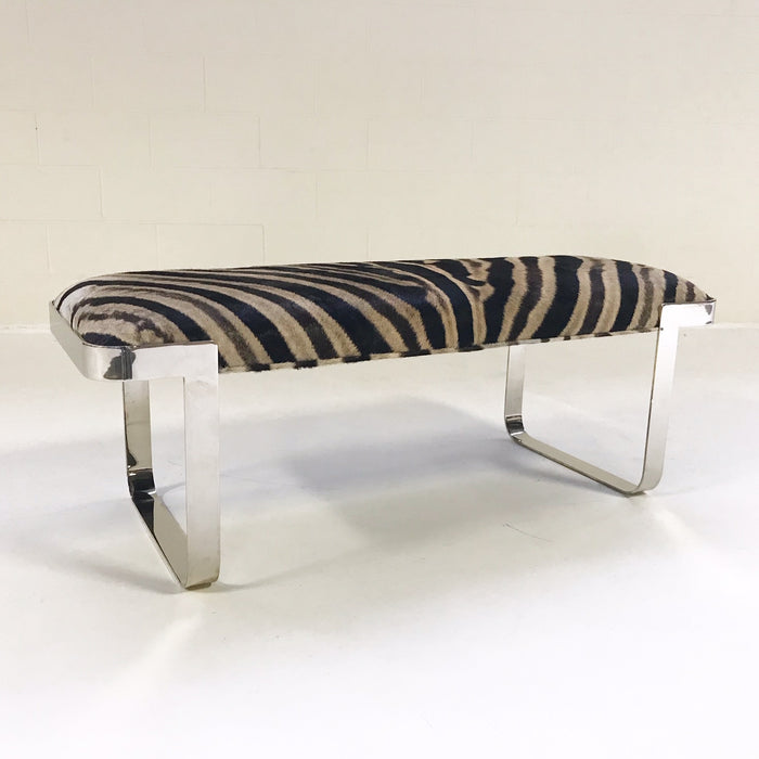 Vintage Milo Baughman Chrome Bench Restored in Zebra Hide - FORSYTH