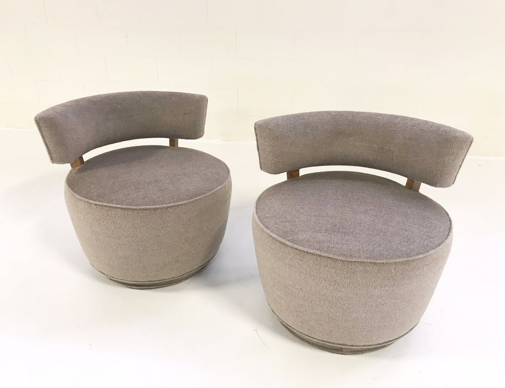Vintage Milo Baughman Style Tub Chairs Restored in Loro Piana Alpaca Wool - Pair - FORSYTH