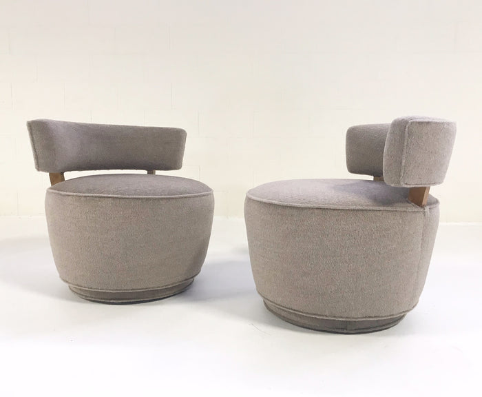 Vintage Milo Baughman Tub Chairs Restored in Loro Piana Alpaca Wool - Pair