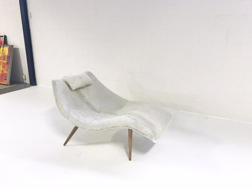 Rare Adrian Pearsall 1828 C Chaise Lounge Chair Restored in Ivory Cowhide - FORSYTH