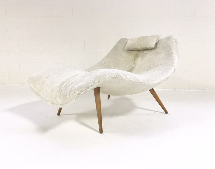 Rare Adrian Pearsall 1828 C Chaise Lounge Chair Restored in Ivory Cowhide
