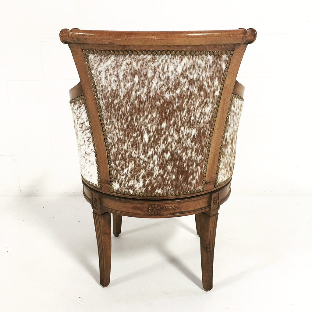 Vintage Swivel Chair in Brown and White Speckled Cowhide - FORSYTH