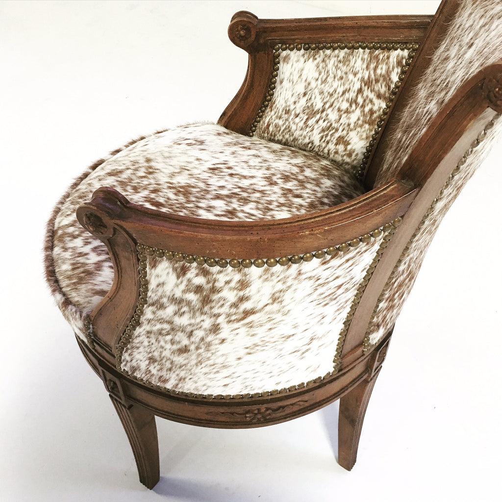 Delicieux Vintage Swivel Chair In Brown And White Speckled Cowhide   FORSYTH