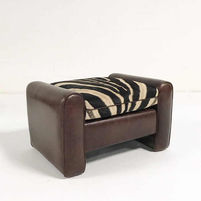 Vintage Ottoman Restored in Leather with Zebra Hide Cushion