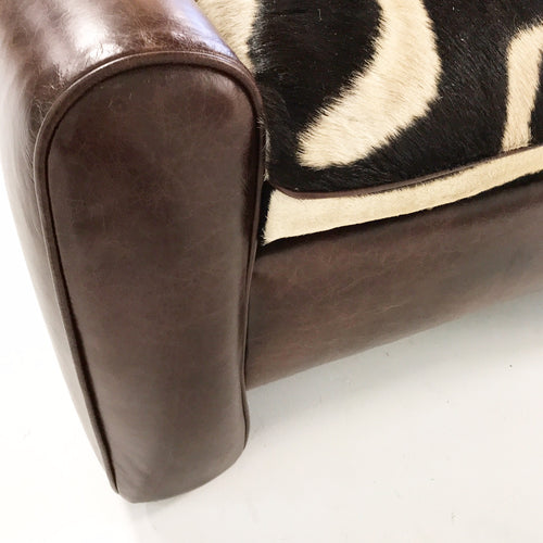Vintage Ottoman Restored in Leather with Zebra Hide Cushion - FORSYTH