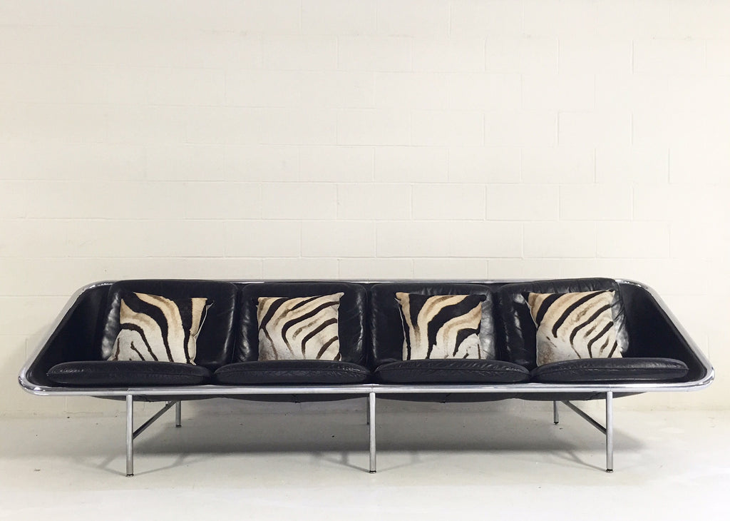 Model 6833 Leather Sling Sofa, George Nelson for Herman Miller, with Four Zebra Hide Pillows - FORSYTH