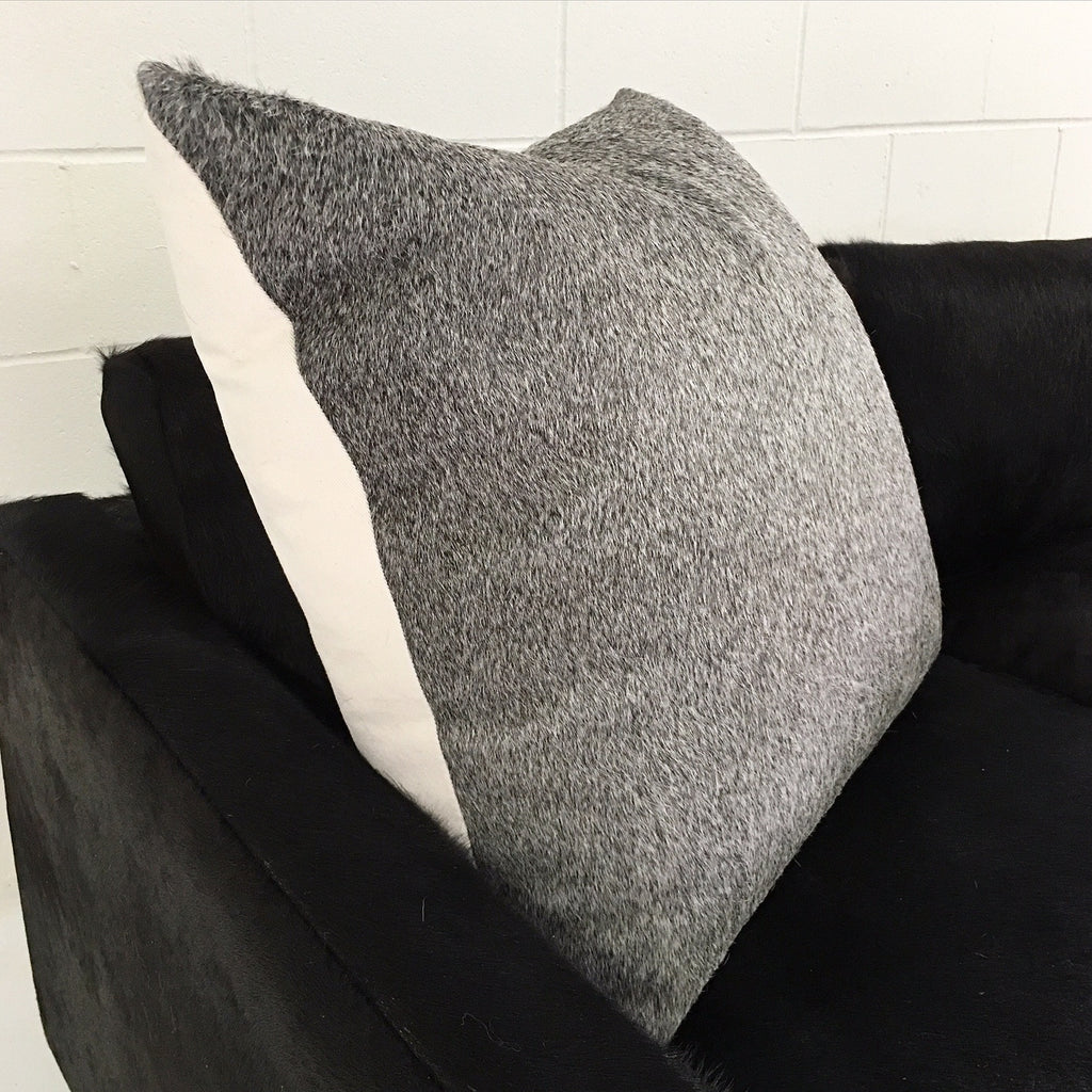 Salt & Pepper Grey Cowhide Pillow - FORSYTH