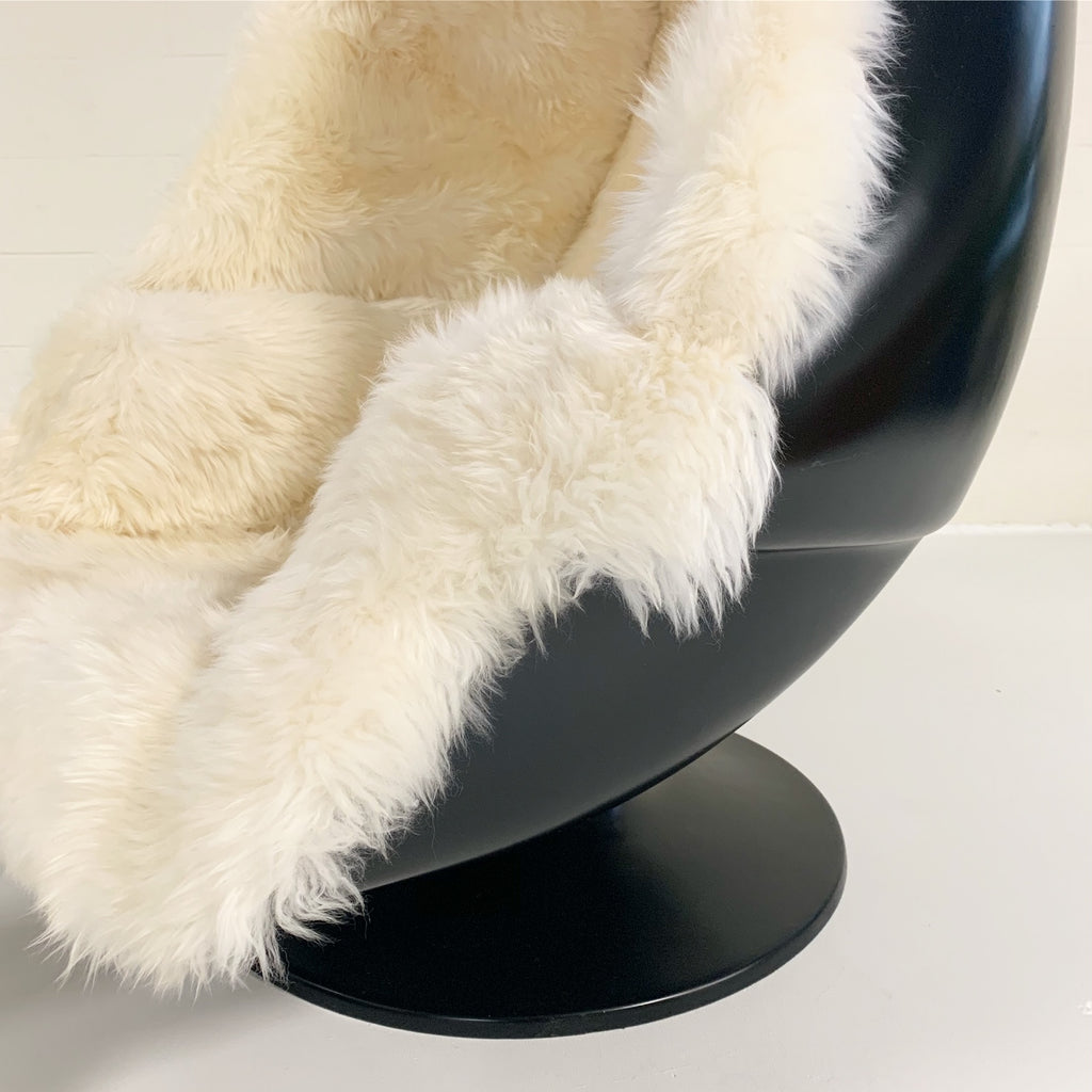 1970s Lee West Alpha Egg Chair and Ottoman Restored in New Zealand Sheepskin - FORSYTH