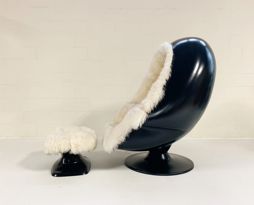 Alpha Egg Chair and Ottoman in New Zealand Sheepskin - FORSYTH