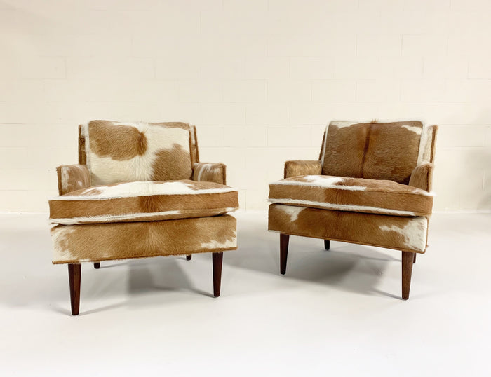 Flair Inc. Lounge Chairs Restored in Brazilian Cowhide - Pair - FORSYTH