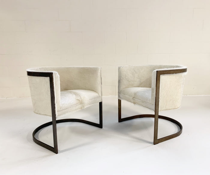 Vintage Brass Cantilever Chairs Restored in Brazilian Cowhide - Pair - FORSYTH