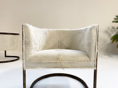 Brass Armchairs in Brazilian Cowhide, pair - FORSYTH