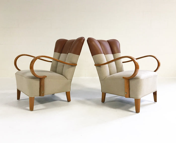 Vintage 1970s Italian Bentwood Armchairs Restored in Loro Piana Italian Buffalo Leather and Loro Piana Linen - Pair - FORSYTH