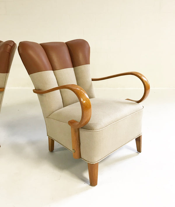 Italian Bentwood Armchairs in Loro Piana Leather and Linen, pair - FORSYTH