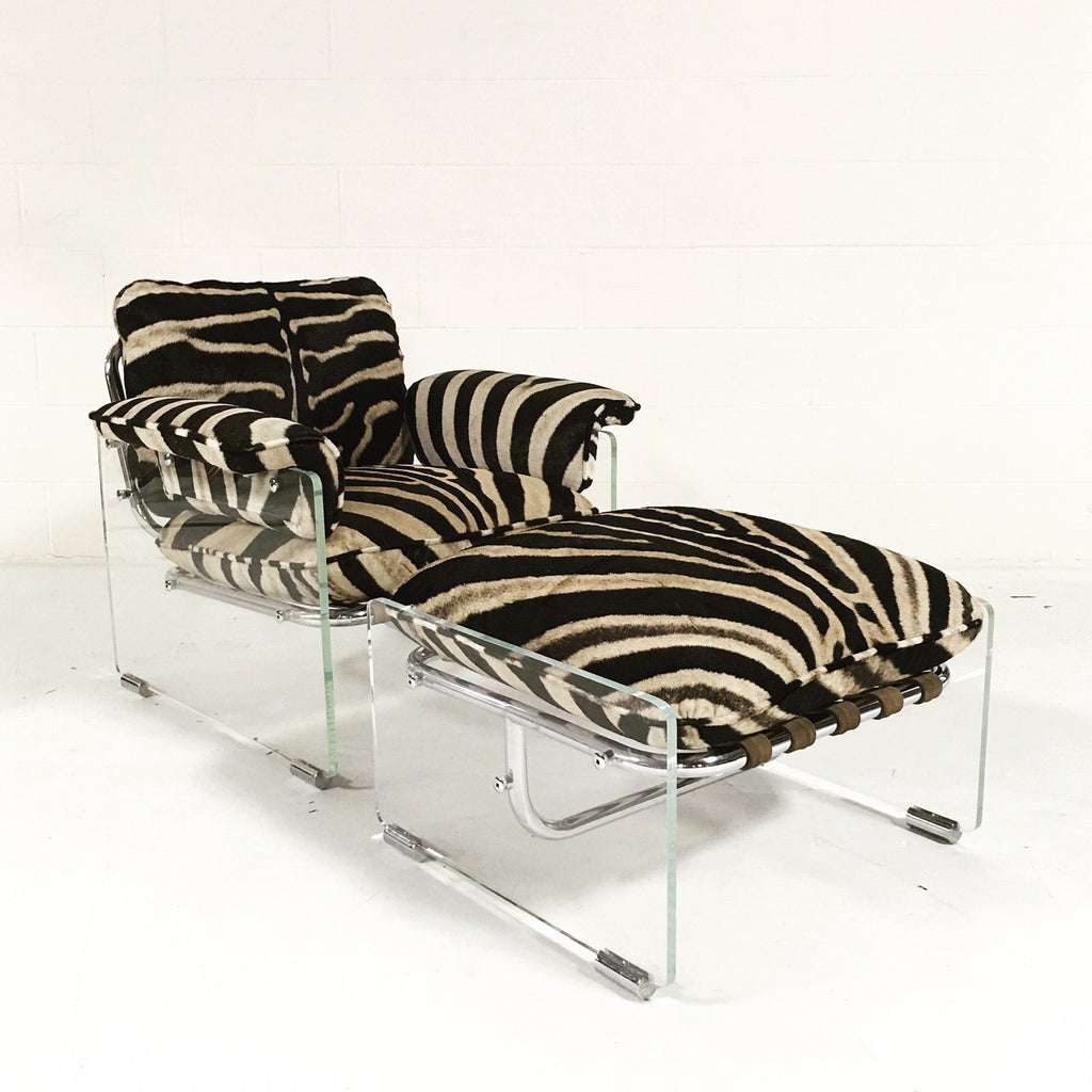 Pace Collection Argenta Lucite and Chrome Lounge Chair and Ottoman in Zebra Hide - FORSYTH