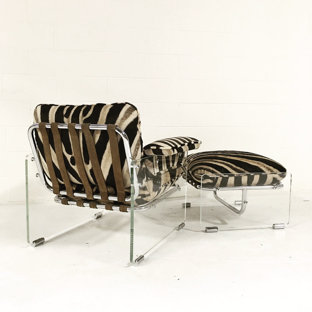 Pace Collection Argenta Lucite And Chrome Lounge Chair And Ottoman In Zebra  Hide   FORSYTH