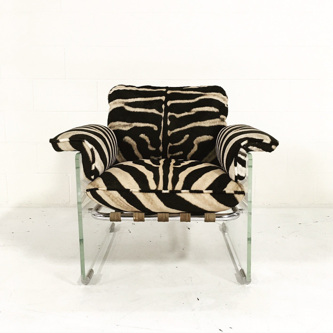 Argenta Lounge Chair and Ottoman in Zebra Hide - FORSYTH