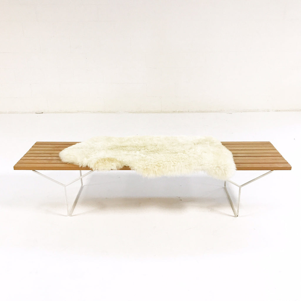 Vintage Early Harry Bertoia for Knoll Slat Bench, Model Number 400 with Brazilian Sheepskin