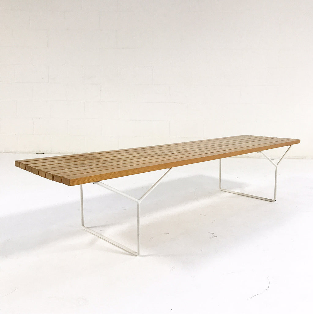 Vintage Early Harry Bertoia for Knoll Slat Bench, Model Number 400 with Brazilian Sheepskin - FORSYTH