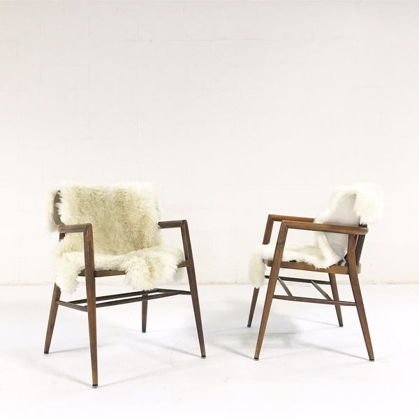 Captain Chairs with Brazilian Sheepskins, pair - FORSYTH