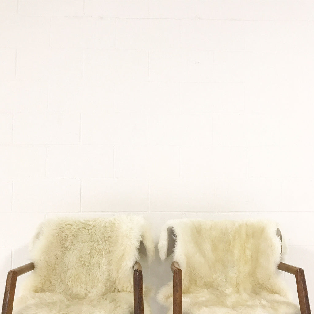 Vintage Paul McCobb Captain Chairs with Brazilian Sheepskins - Pair - FORSYTH