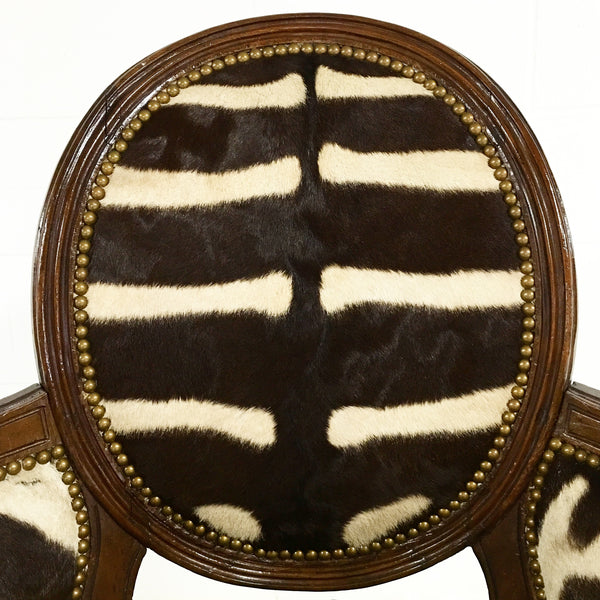 Louis XVI Style Walnut Bergere in Zebra Hide - FORSYTH