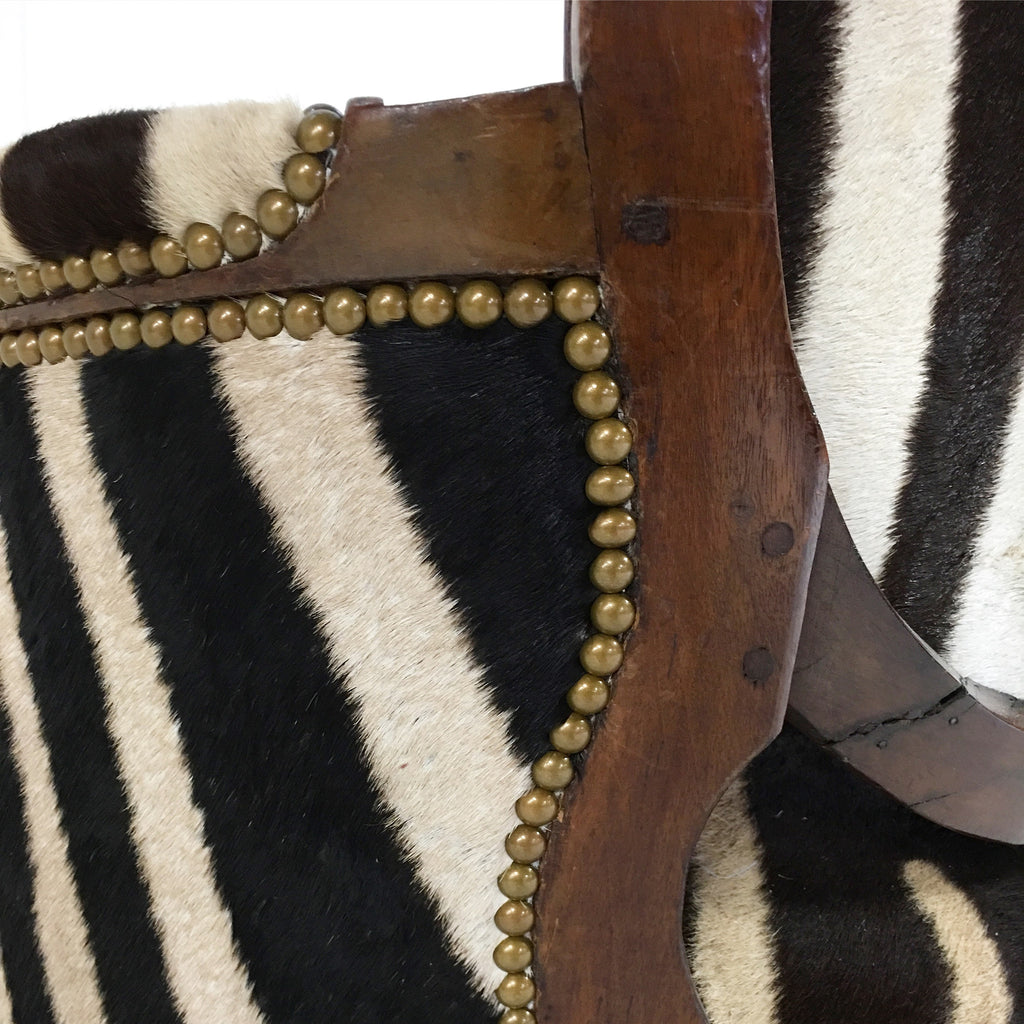 Louis XVI Style Walnut Bergere with Zebra Hide - FORSYTH