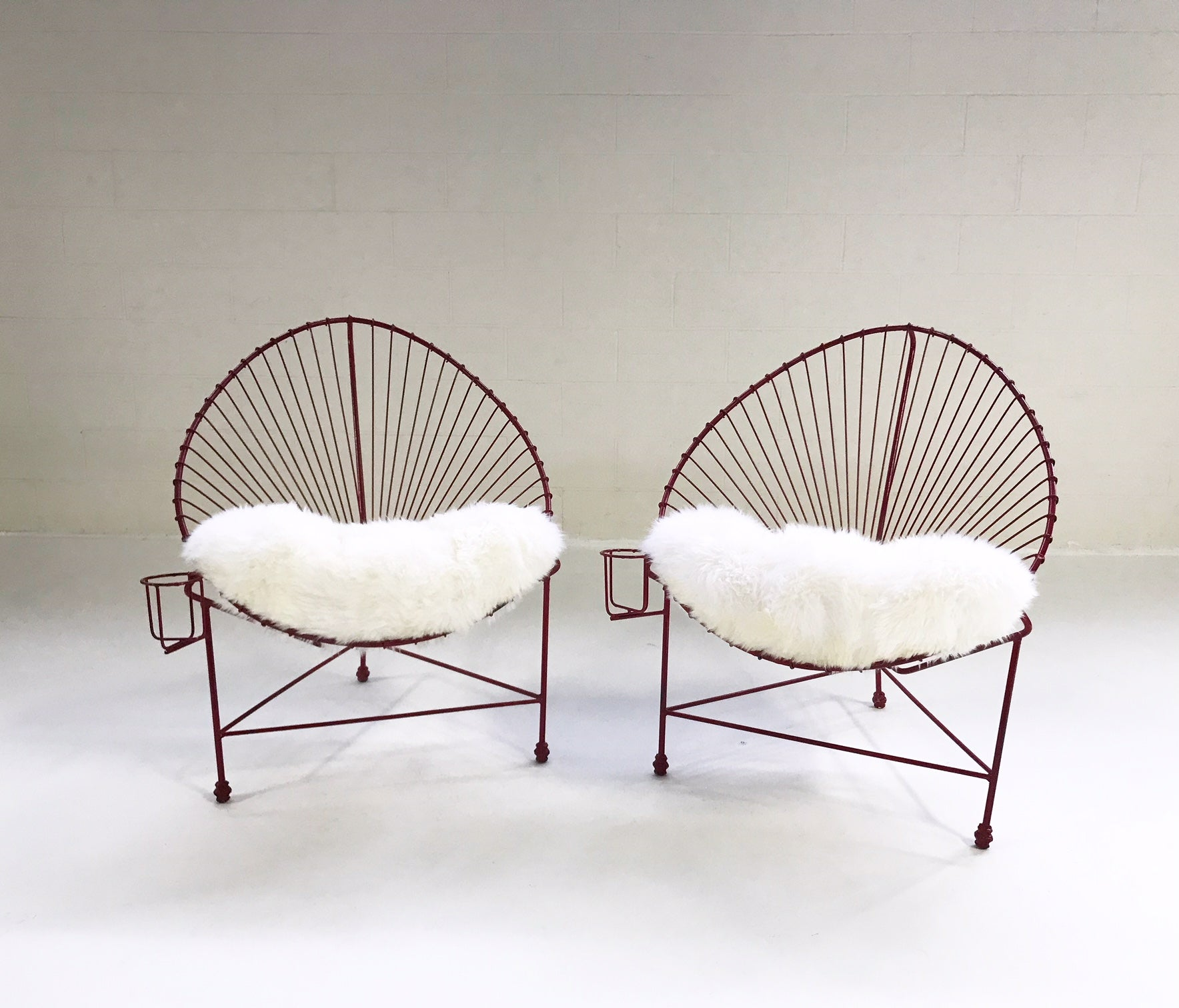 Papasan Chairs with Sheepskin Cushions, pair - FORSYTH