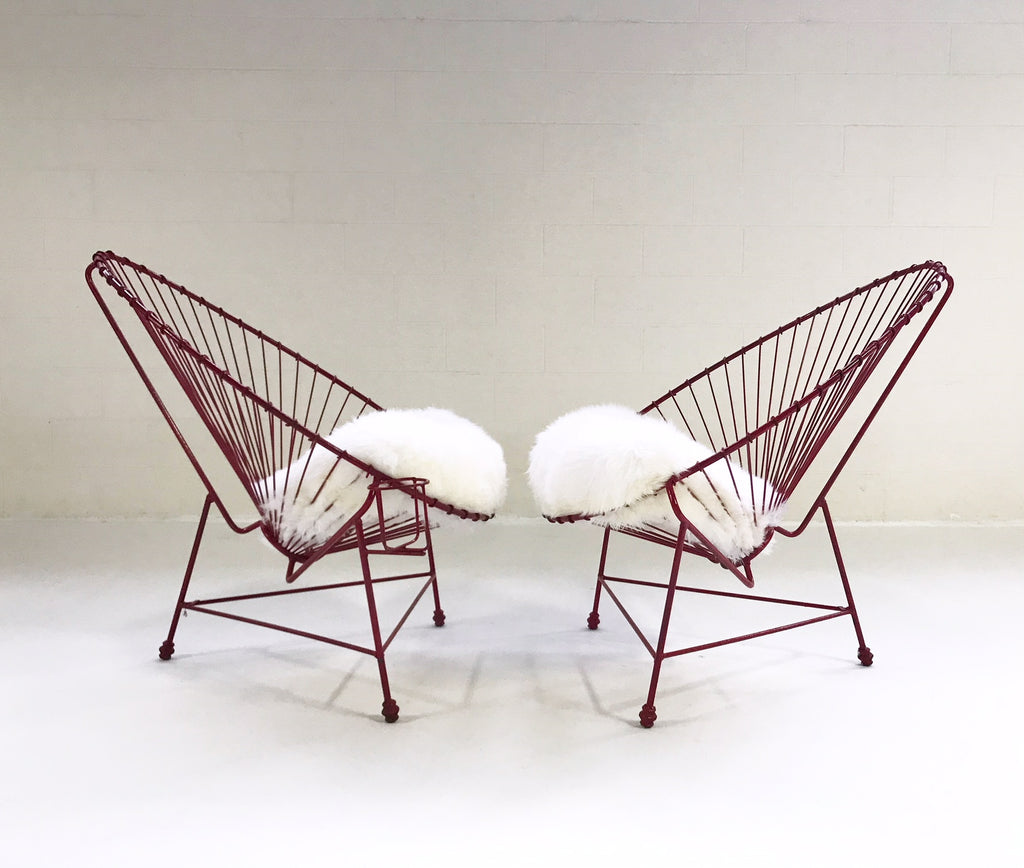 Vintage Red Metal Papasan Chairs with Custom Sheepskin Cushions - Pair - FORSYTH