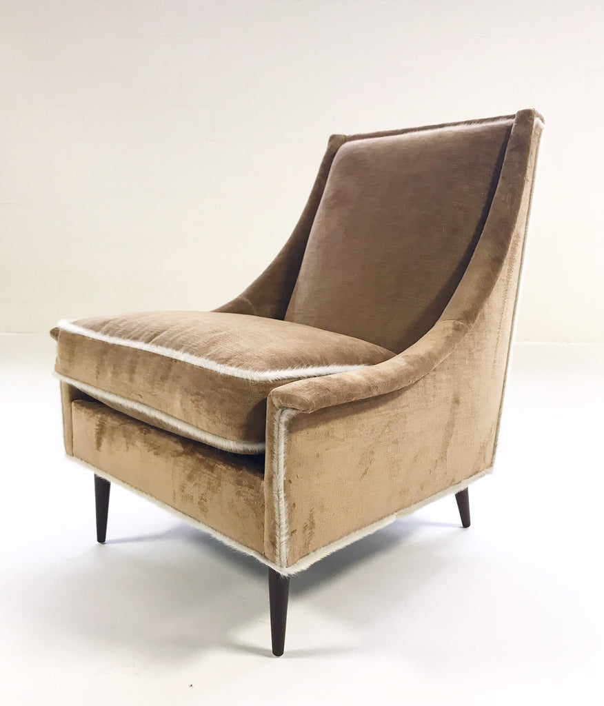 Vintage Milo Baughman Lounge Chair and Ottoman Restored in Ralph Lauren Caramel Linen Velvet with Brazilian Cowhide Welting - FORSYTH
