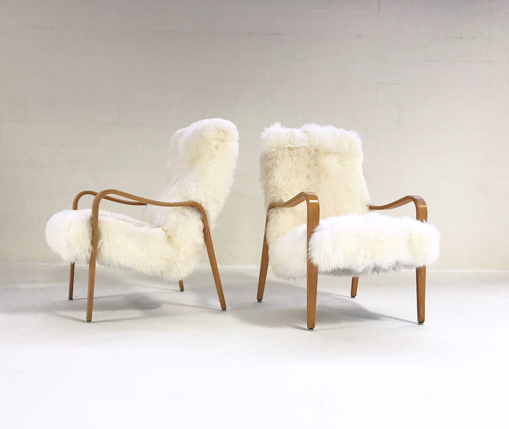 Vintage Thonet Bentwood Lounge Chairs Restored in New Zealand Sheepskin - Pair - FORSYTH