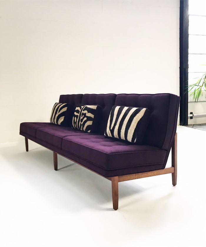 Vintage Florence Knoll Sofa Restored in Loro Piana Aubergine Cashmere - FORSYTH