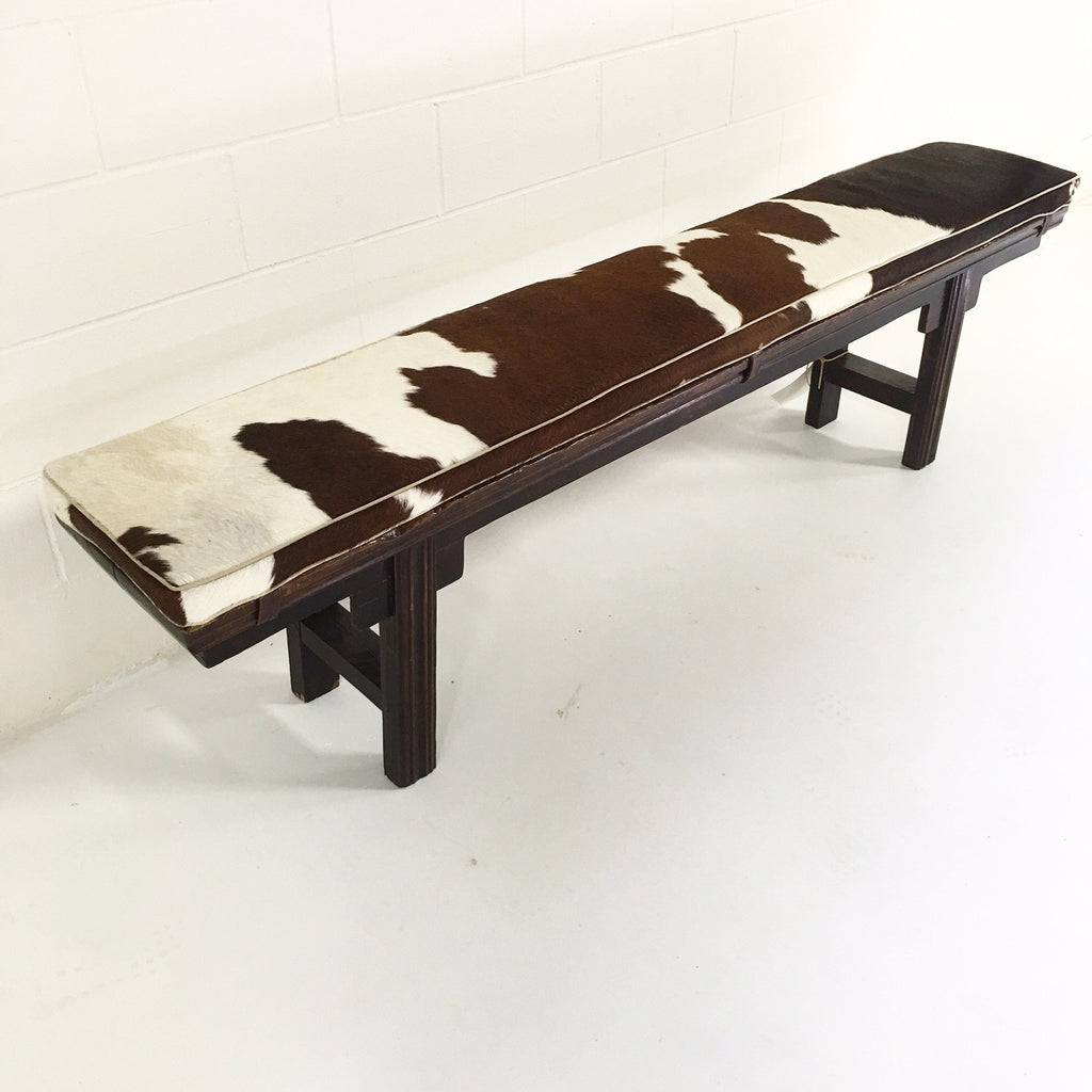 Vintage Chinese Altar Bench with Custom Brazilian Cowhide Cushion - FORSYTH