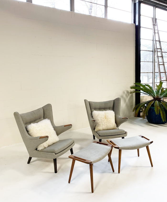 Important Pair of Hans Wegner for A.P. Stolen Papa Bear Chairs with Ottomans - FORSYTH