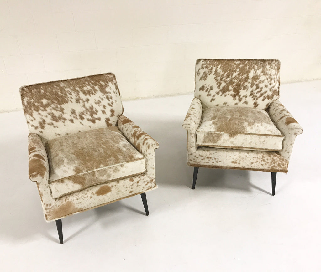 Paul McCobb Lounge Chairs in Palomino and White Cowhide - Pair - FORSYTH