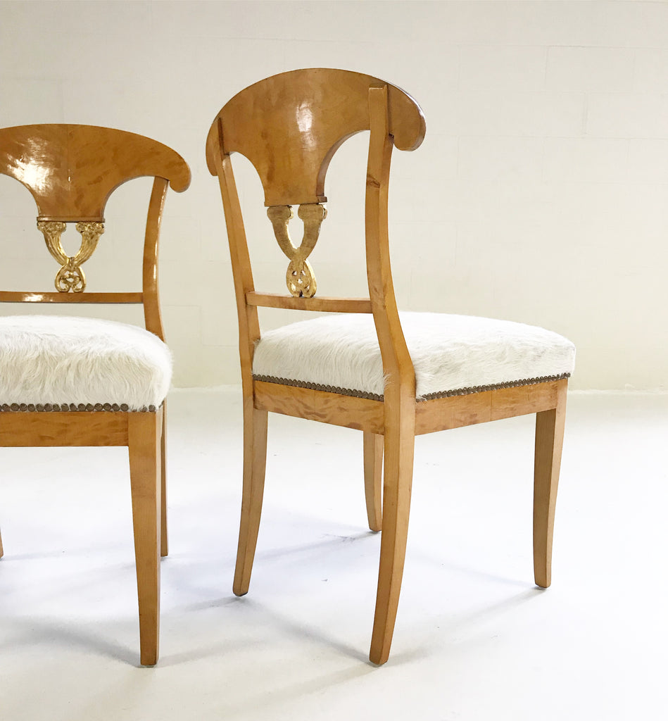 Circa 1820 Satin Birch Biedermeier Chairs Restored In Brazilian Cowhide    Pair   FORSYTH