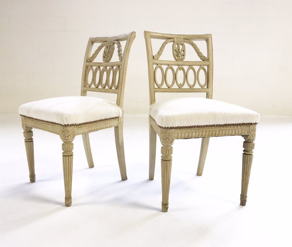 Antique Swedish Chairs in Brazilian Cowhide, Pair - FORSYTH