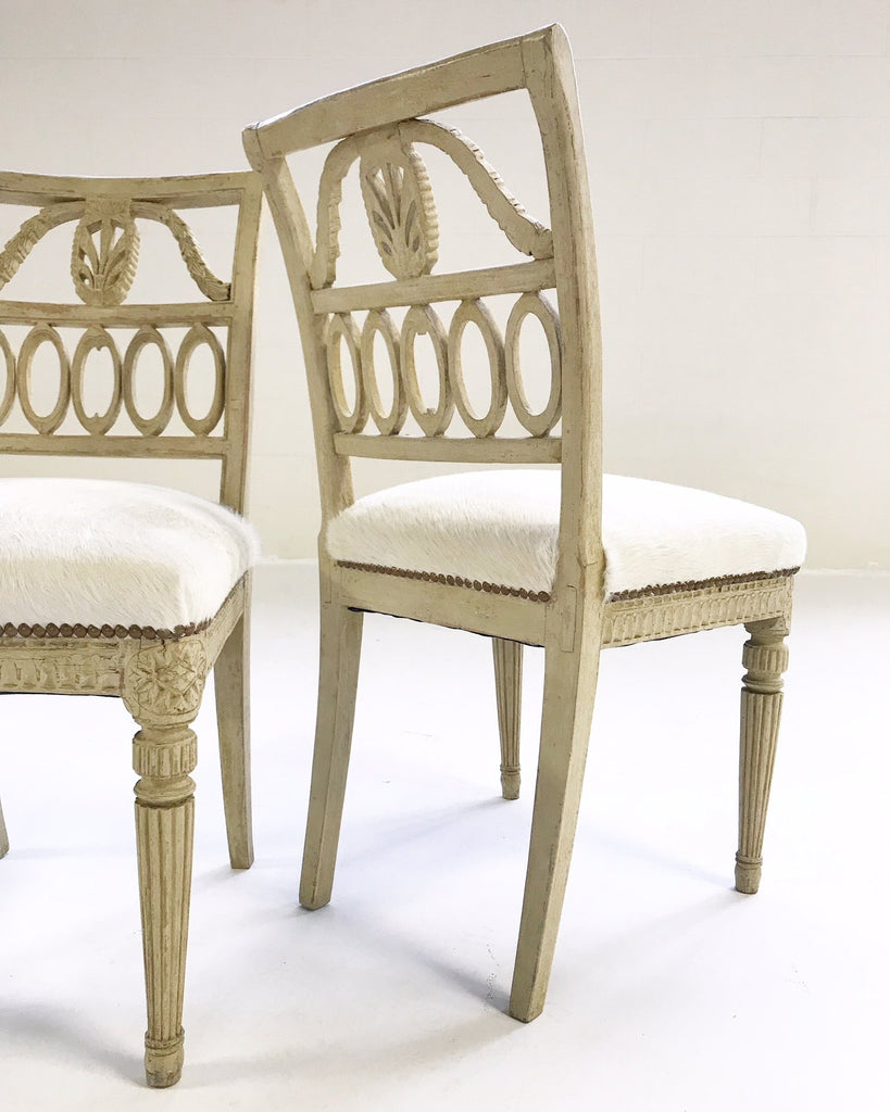 18th Century Swedish Painted Side Chairs Restored in Brazilian Cowhide - Pair - FORSYTH