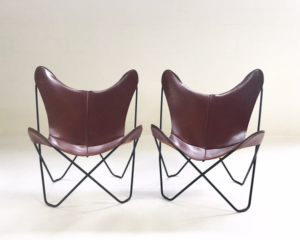 Butterfly Chairs with Sheepskins, pair - FORSYTH