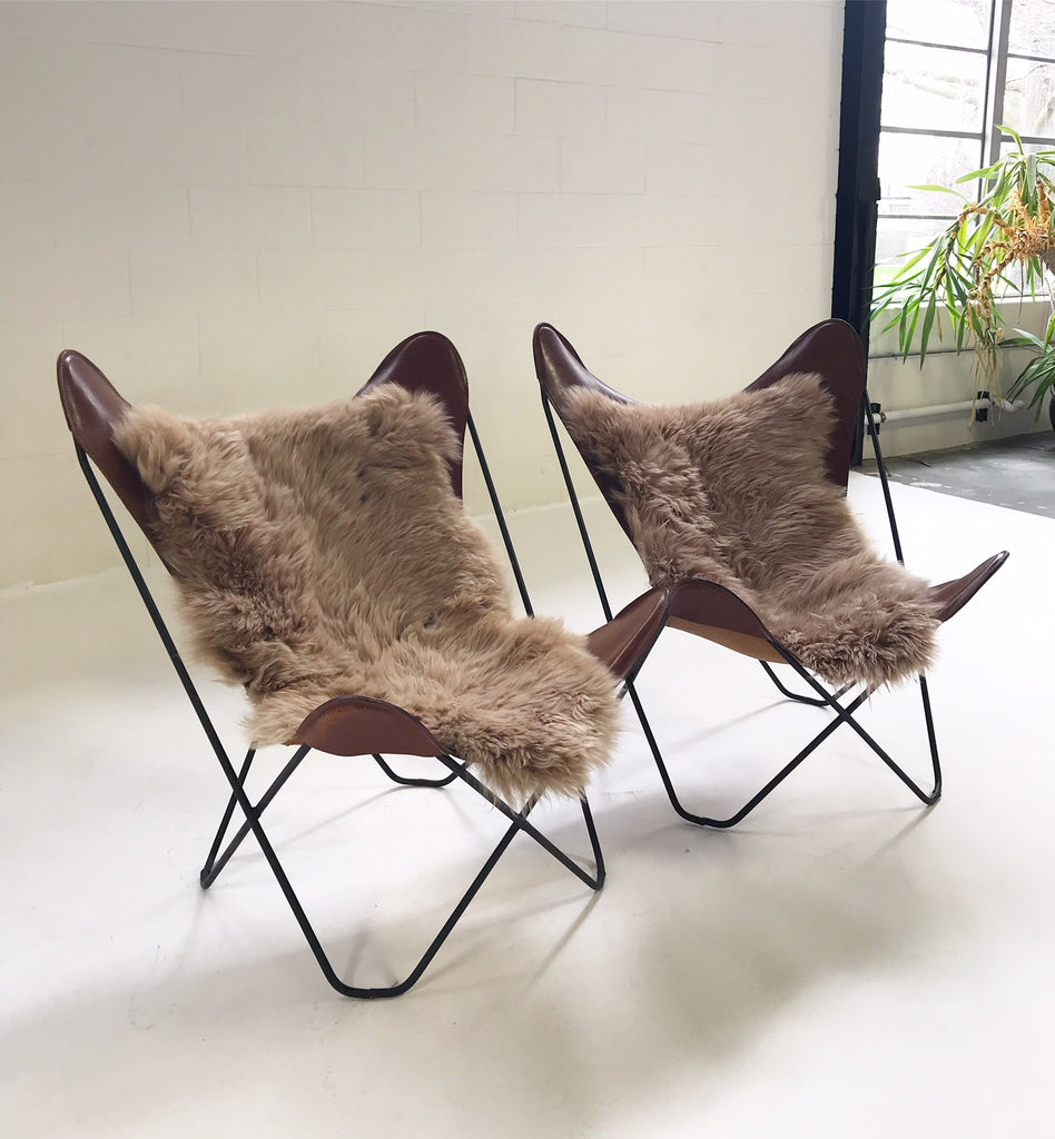Vintage Antonio Bonet, Juan Kurchan, and Jorge Ferrari Hardoy for Knoll Butterfly Chairs with Sheepskins - Pair - FORSYTH