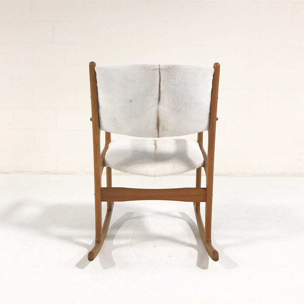 Vintage Benny Linden Teak Rocking Chair Restored in Brazilian Calfskin - FORSYTH