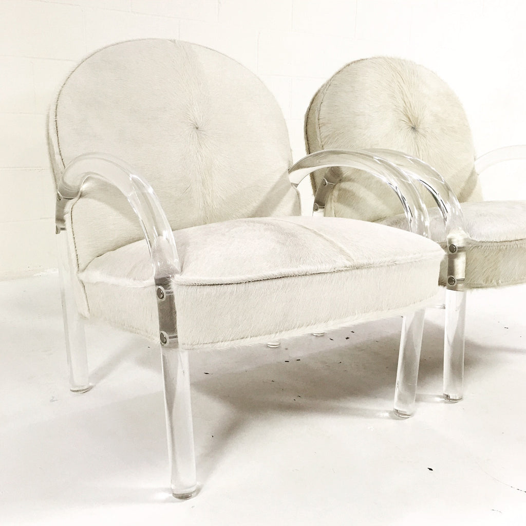 Charles Hollis Jones Lucite Armchairs in Ivory Brazilian Cowhide - Pair - FORSYTH