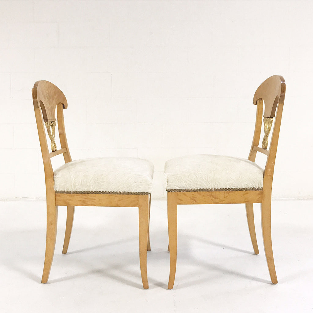 Circa 1820 Biedermeier Chairs in Ivory Brazilian Cowhide - Set of Four - FORSYTH