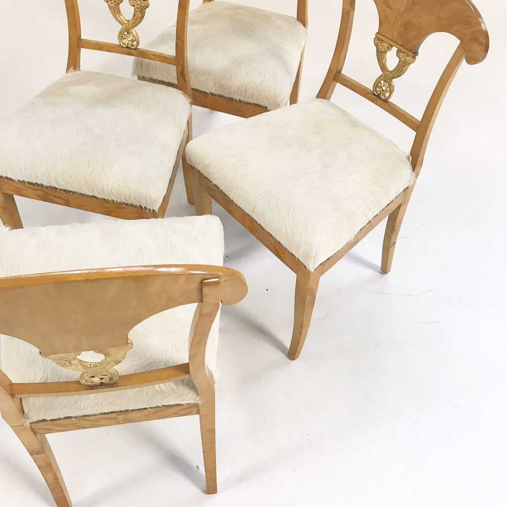 Circa 1820 Biedermeier Chairs in Ivory Brazilian Cowhide - Set of Four
