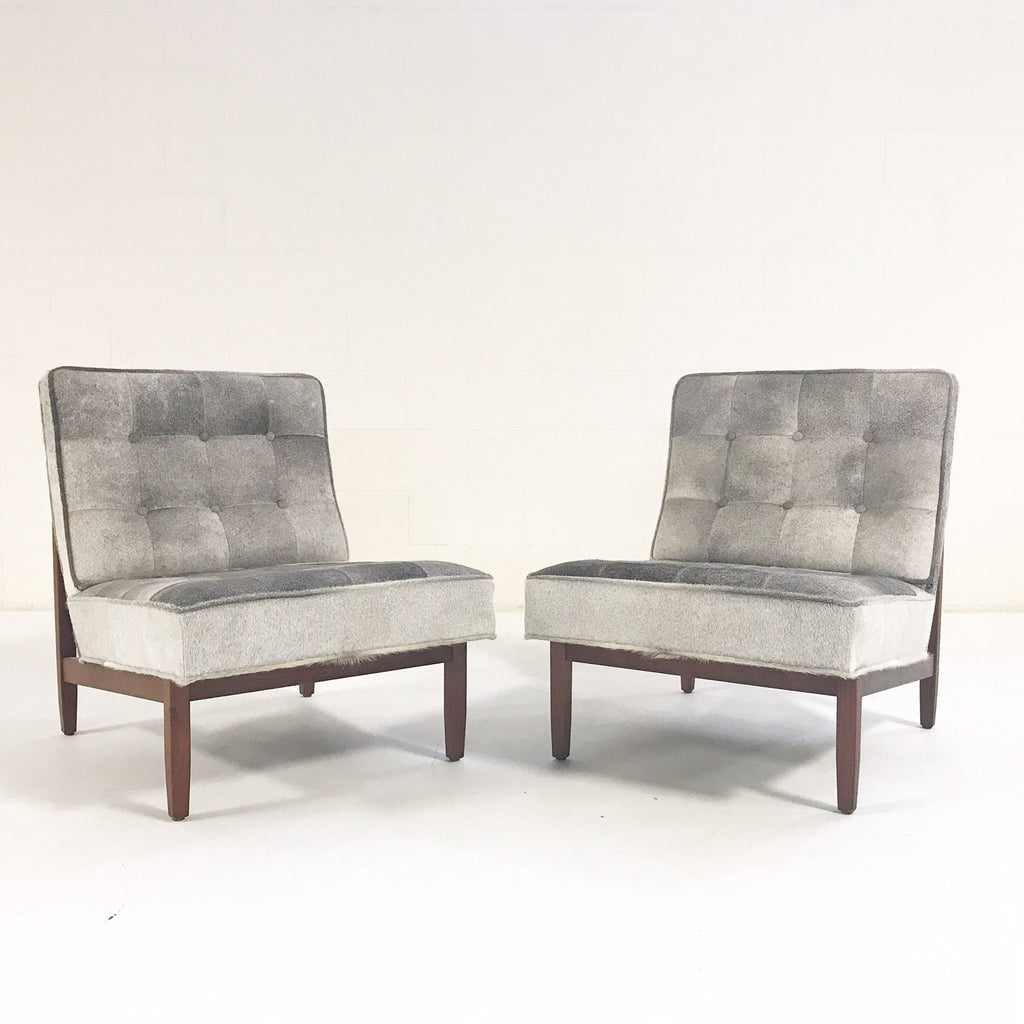 Florence Knoll Lounge Chairs Restored in Brazilian Cowhide - Pair